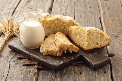 Fotomural Fresco, caseiro, pão, leite