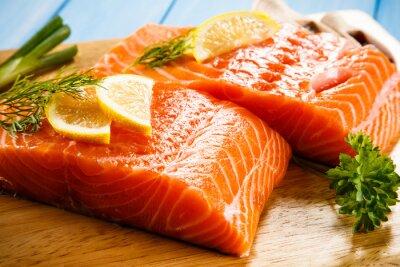 Fotomural Fresco, cru, salmão, filetes, corte, tábua