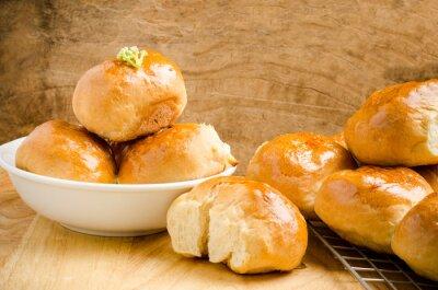 Fotomural Fresco, pão, madeira, fundo, caseiro, padaria