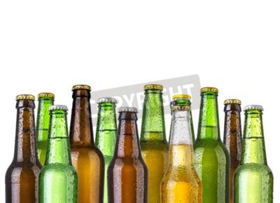Fotomural Frosty garrafas de cerveja isolado em um fundo branco