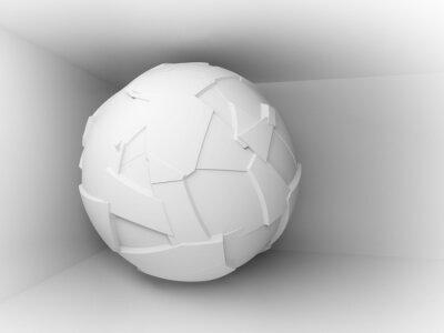 Fotomural Fundo 3d abstrato com branco grande esfera voadora
