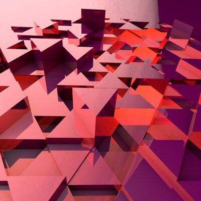 Fotomural Fundo 3d abstrato com triângulos poligonais vermelhos.