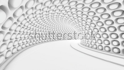 Fotomural Fundo abstrato branco do túnel 3d. Ilustração 3d rende