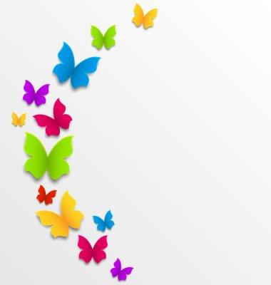 Fotomural Fundo abstrato da mola com borboletas do arco-íris