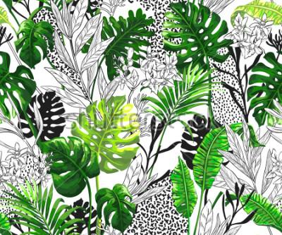 Fotomural Fundo botânico com folhas de palmeira tropicais. Padrão de vetor sem emenda na moda estilo havaiano.