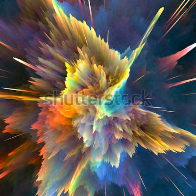 Fotomural Fundo colorido abstrato da explosão. Closeup, ilustração de alta resolução para o seu folheto, flyer, projetos de banner e outros projetos. Efeito de iluminação de explosão. 3d rendem a ilustração.