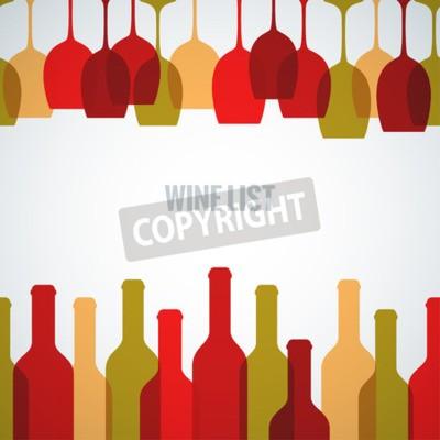 Fotomural Fundo da arte da garrafa de vidro de vinho