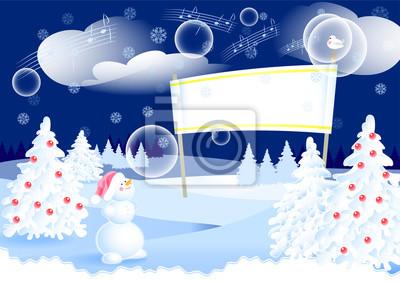 Fundo Da Paisagem Dos Desenhos Animados Da Noite Do Inverno Com