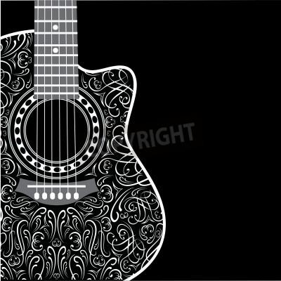 Fotomural Fundo do inclinação com guitarra grampeada e ornamento à moda