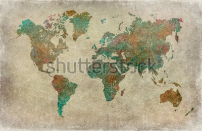 Fotomural fundo do mapa do mundo vintage