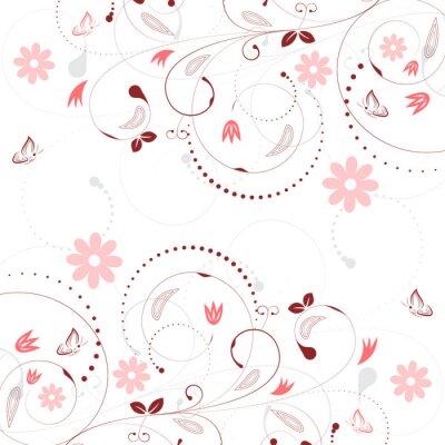 Fotomural Fundo floral do vetor com teste padrão e borboletas de flor do vintage.