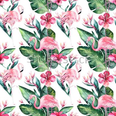 Fotomural Fundo floral sem emenda tropical do teste padrão do verão com folhas de palmeira tropicais, pássaro cor-de-rosa do flamingo, hibiscus exótico. Perfeito para papéis de parede, design têxtil, impressão