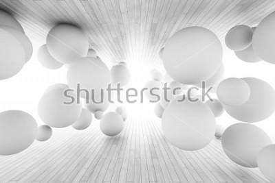 Fotomural Fundo geométrico abstrato com as bolas no túnel das placas. Ilustração 3D.