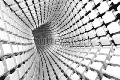 Fotomural Fundo geométrico abstrato com um túnel que vai à perspectiva. 3d render