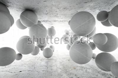 Fotomural Fundo geométrico abstrato de bolas concretas. Ilustração 3D.