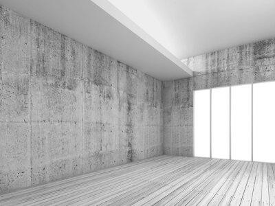 Fotomural Fundo interior branco com piso de madeira, 3d