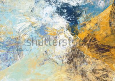 Fotomural Fundo macio azul e amarelo bonito abstrato do cor. Textura de pintura moderna. Moderno padrão futurista. Arte final do Fractal para design gráfico criativo