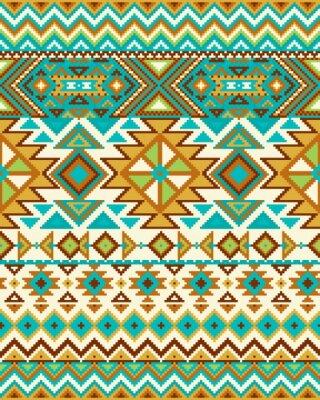 Fotomural Fundo sem emenda brilhante com teste padrão do pixel no estilo tribal geométrico asteca. Ilustração do vetor. Cores Pantone.