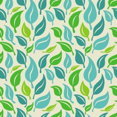 Fotomural Fundo sem emenda com folhas verdes e azuis