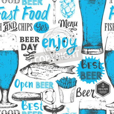 Fotomural Fundo sem emenda com jogo de cerveja. Menu do Pub. Garrafa e vidro da cerveja no estilo do esboço. Vector a ilustração com etiquetas da cerveja.
