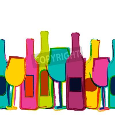 Fotomural Fundo sem emenda da aguarela do vetor, frascos de vinho coloridos e vidros. Conceito para o menu da barra, partido, bebidas do álcool, feriados, lista de vinho, insecto, folheto, poster, bandeira. Des