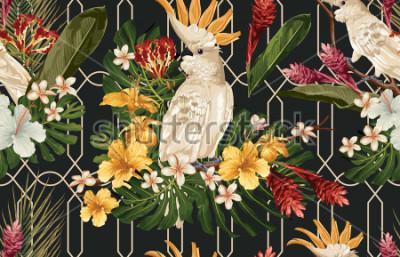 Fotomural Fundo tropical sem emenda do teste padrão com flores tropicais e pássaro da cacatua. Papel de parede Tropicana, papel digital, ilustração de raster em estilo vintage havaiano.