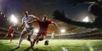 Fotomural Futebol, jogadores, ação, pôr do sol, estádio, fundo, panorama