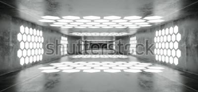Fotomural Futurista Sci Fi Nave Espacial Grunge Túnel Vazio Concreto Com Branco Hexágono Incandescente Em Forma De Luzes Com Extremidade Escura Preta 3D Renderização De Ilustração