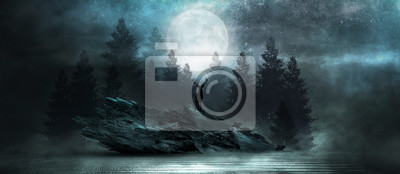 Fotomural Futuristic night landscape with abstract forest landscape. Dark natural forest scene with reflection of moonlight in the water, neon blue light. Dark neon circle background, dark forest, deer.
