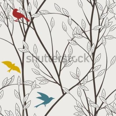 Fotomural galhos e pássaros coloridos