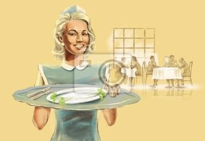 Fotomural garçonete retro em um tampão com uma bandeja em um restaurante 974eef1fe11