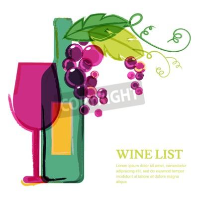 Fotomural Garrafa de vinho, vidro, videira de uva-de-rosa, ilustração da aguarela. Molde abstrato do projeto do fundo do vetor. Conceito para a lista do vinho, menu, insecto, partido, bebidas do álcool, feriado