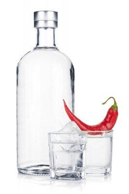 Fotomural Garrafa de vodca e vidro de tiro com gelo e de pimentão vermelho