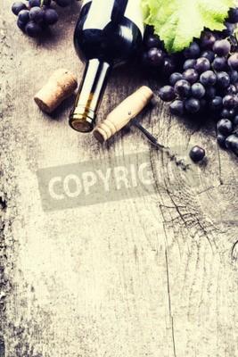 Fotomural Garrafa, escuro, vinho, uva, rolhas, antigas, madeira, fundo