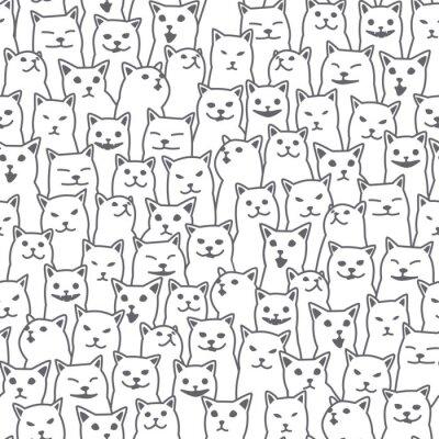 Fotomural Gato gatinho raça doodle Vector Seamless Pattern isolado fundo do papel de parede branco