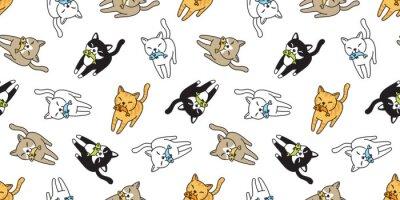 Fotomural gato padrão sem emenda vector gatinho calico peixe salmão cartoon cachecol isolado telha fundo repetir papel de parede doodle ilustração
