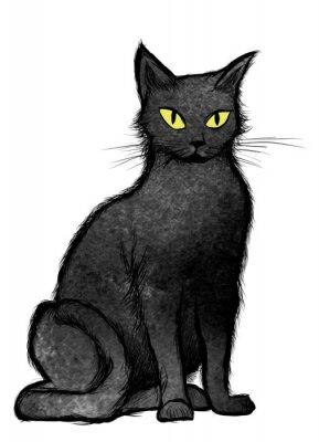 Fotomural Gato preto que senta-se e que olha a câmera
