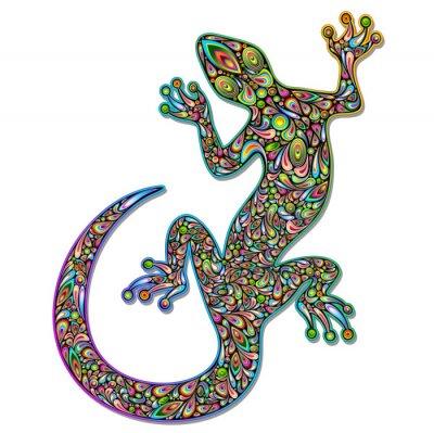 Fotomural Gecko Geko Lizard Psychedelic Art Design-Geco psichedelico