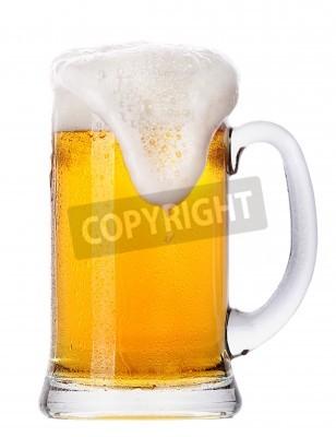 Fotomural Gelado, vidro, luz, Cerveja, jogo, isolado, branca, fundo