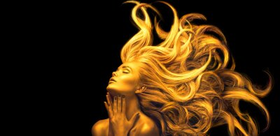 Fotomural Gold Woman. Beauty fashion model girl with Golden make up, Long hair on black background. Gold glowing skin and fluttering hair. Metallic, glance Fashion art portrait, Hairstyle. Fashion art design