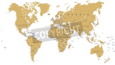 Fotomural Golden World Map - fronteiras, países, cidades e globos - ilustração