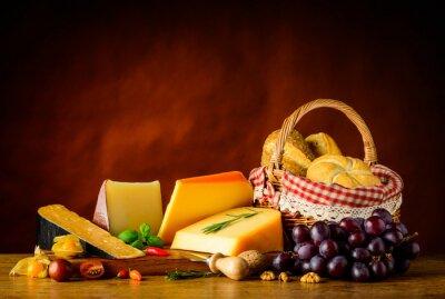 Fotomural Gouda, queijo, cesta, bolo