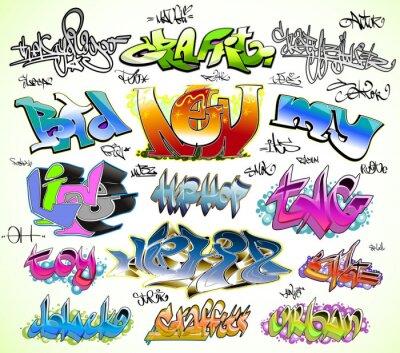 Fotomural Graffiti conjunto desenho vetorial