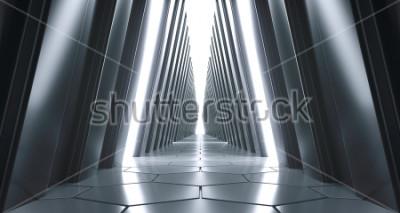 Fotomural Grande corredor futurista futurista da ficção científica com luzes brancas e reflexões. Renderização 3D