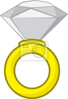 Grande Isolado Anel De Diamante Dos Desenhos Animados