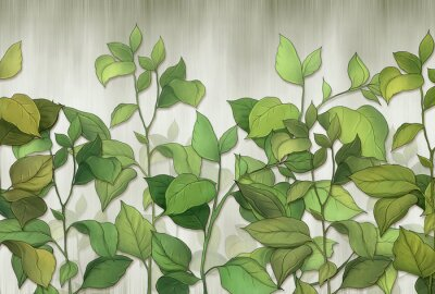 Fotomural Green leaves of a house plant on a wall background. Tropical leaves. for interior printing.