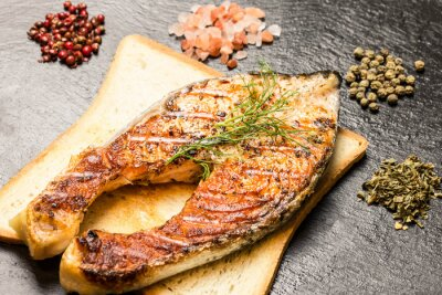 Fotomural Grelhados, salmão, faixa, sobre, quentes, pão, fatia, temperos, sobre, ardósia