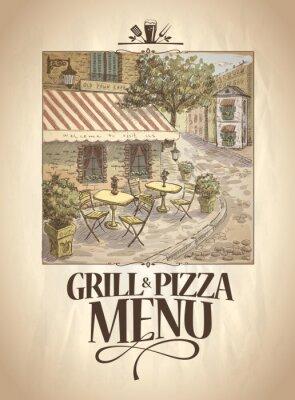 Fotomural Grill e Pizza menu com ilustração gráfica de um café da rua.