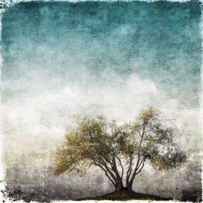 Fotomural Grunge paisagem com árvore única