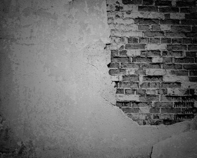 Fotomural Grunge preto resistido, textura de parede de tijolo rachado